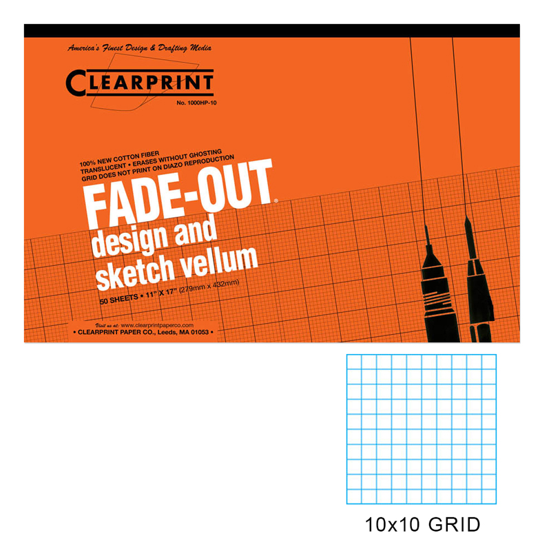 16 lb. 100/% Cotton Translucent White 18 x 24 Inches 50 Sheets Clearprint 1000H Design Vellum Pad with Printed Fade-Out 10x10 Grid 10003422