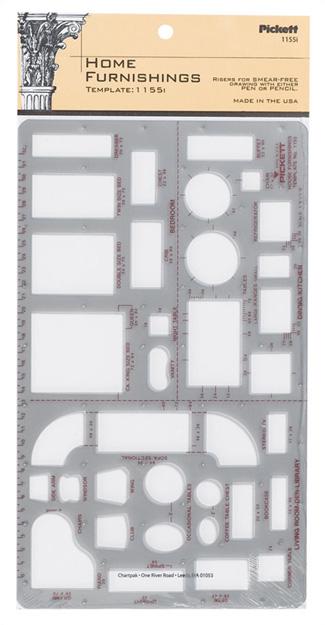 Home furnishings interior design template 10x6 scale 1 4 - 1 4 scale furniture for interior design ...