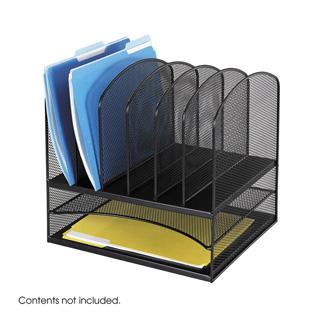 Safco Onyx Desk Organizer 2 Horizontal 6 Upright Sections Black 3255bl