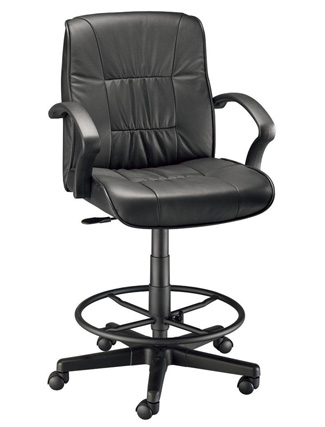 Alvin Art Director Exec Leather Drafting Chair - Black (CH777-90DH)