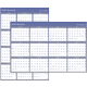 "AT-A-GLANCE  Erasable Two-Sided Vertical/Horizontal Yearly Wall Calendar 32""x48"" Blue and Gray 2019 (A1152-19)"