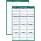 "AT-A-GLANCE  Erasable Two-Sided Vertical Yearly Wall Calendar 24""x36"" Green and White 2019 (PM2102819)"