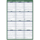 "AT-A-GLANCE  Erasable Two-Sided Vertical Yearly Wall Calendar 32""x48"" Green and White 2019 (PM3102819)"