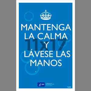 Blue Keep Calm Wash Your Hands Poster Spanish (CDC8)