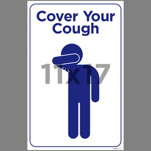 Blue Cover Your Cough Indoor Window Decal English (EDU56)