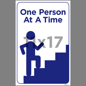 Blue One Person At A Time Indoor Window Decal English (EDU65)