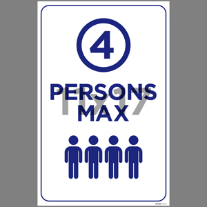 Blue 4 Persons Max Indoor Window Decal English (EDU68)