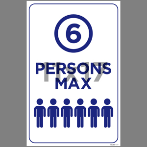 Blue 6 Persons Max Indoor Window Decal English (EDU69)