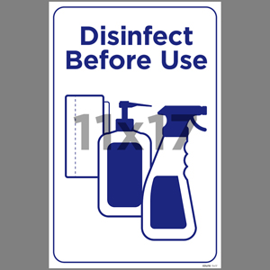 Blue Disinfect Before Use Indoor Window Decal English (EDU70)