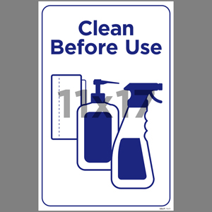 Blue Clean Before Use Indoor Window Decal English (EDU71)