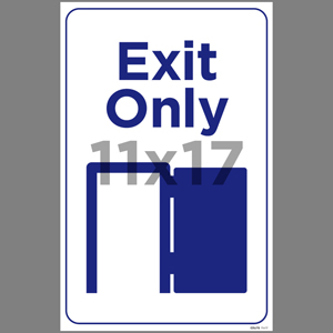 Blue Exit Only Indoor Window Decal English (EDU78)