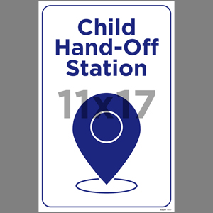 Blue Child Hand-Off Station Indoor Window Decal English (EDU81)