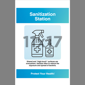 Blue Sanitization Station Poster English (HW8)