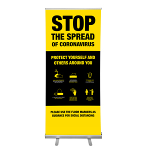 "Yellow And Black Stop The Spread Of Coronavirus Tips 36""x84"" Popup Retractable Banner English (POP1)"