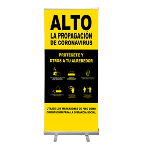 "Yellow And Black Stop The Spread Of Coronavirus Tips 36""x84"" Popup Retractable Banner Spanish (POP1)"