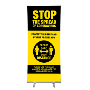 "Yellow And Black Stop The Spread Of Coronavirus Please Keep Your Distance 36""x84"" Popup Retractable Banner English (POP2"