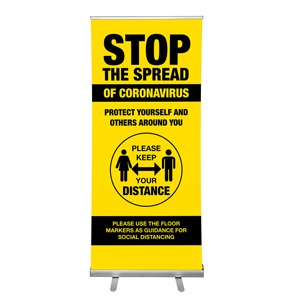 "Yellow And Black Stop The Spread Of Coronavirus Please Keep Distance 36""x84"" Popup Retractable Banner English (POP3)"