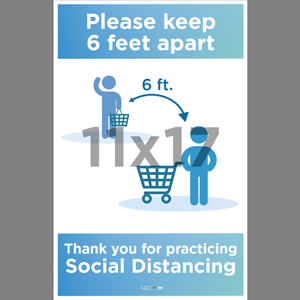 Blue Social Distancing Grocery Store Poster English (SDB1)