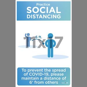 Blue Social Distancing Poster English (SDB2)